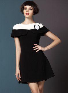 Vestido aplique flor combinado capa blanca manga corta-Negro EUR€50.14
