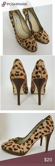 Steve Madden Leopard Calf Hair Platform Heels
