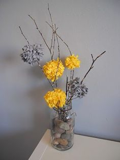 Gray and yellow for the bedroom
