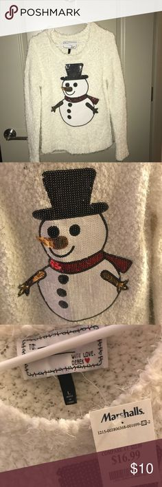 Holiday ugly sweater NWT Adorable sequins snowman for your ugly sweater party!  ⭐️⭐️⭐️⭐️⭐️ seller rating, 🚭smoke-free & pet-free home, 📦 fast shipper! Sweaters Crew & Scoop Necks