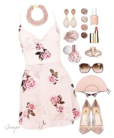 """""""I'm a Fan!"""" by gemique ❤ liked on Polyvore featuring Lipsy, Semilla, RED Valentino, Kenneth Jay Lane, Dina Mackney, Bliss Diamond, Terre Mère, Essie and Clarins"""