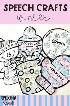 These winter speech-language therapy crafts are super engaging, fun, and interactive! They address articulation, vocabulary (synonyms, antonyms, homonyms, and more), grammar (nouns, verbs, irregular plurals, and more), and fluency/stuttering! These are perfect for mixed groups! This blog post reviews the yearly speech therapy crafts bundle! #speechtherapy