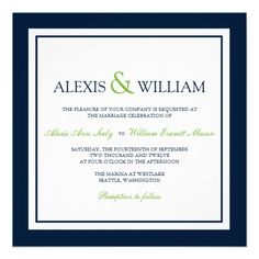 Wedding Invitations in Navy Blue and green...ours are Navy and yellow!!!! Everyone should have them now:)
