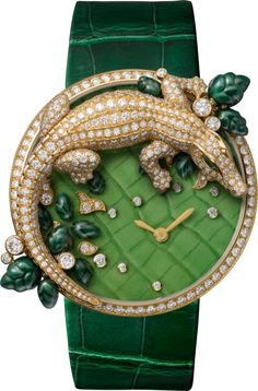 Les Indomptables de Cartier watch 40 mm, yellow gold, diamonds