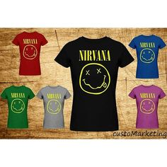 Nirvana Women T-Shirt Smiley Face Kurt Cobain Rock Band Cloth Poster... ($20) ❤ liked on Polyvore featuring tops, t-shirts, black, women's clothing, americana shirts, rock tees, america shirts, rock tops and print top