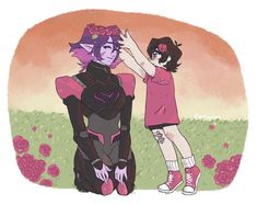 Keith and his Galra Mother, Krolia with the red roses flower crown from Voltron Legendary Defender