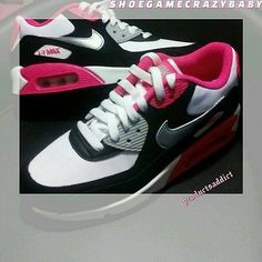 5690efdb93 NIKE AIR MAX 90 PINK WHITE SILVER BLACK size 4.5 SUMMER classic retro style