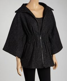 Take a look at this Black Diamond Zipper Cape by Steve Madden on #zulily today!  *OMG how comfy does this look??
