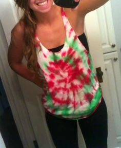 DIY tie dye bro tank. tie dye regular shirt cut the sleeves and collar to your liking and there ya go!