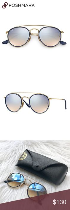 2a88d0bc4f6b8 NEW    Ray-Ban RB3647 Double Bridge Sunglasses Authentic Ray-Ban RB3647N 001  9U round double bridge sunglasses. 51-22-145mm. Gold metal frame with  Silver ...