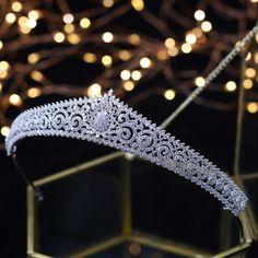 New Bling Wedding Crown Diadem Tiara With Zirconia Crystal Elegant Wom - chicmaxonline Silver Bridal Crowns, Silver Tiara, Bridal Tiara, Bridal Headpieces, Bling Wedding, Wedding Tiaras, Wedding Veils, Tulle Wedding, Wedding Dresses