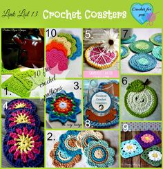 Coasters are one of my favorite things to crochet. Easy and fast! 10 Free Crochet Coaster Patterns.