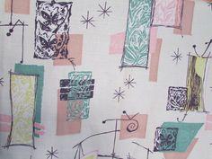 Vtg Mid Century Modern Drapes Curtains 2 Panels Abstract Atomic Eames Barkcloth | eBay