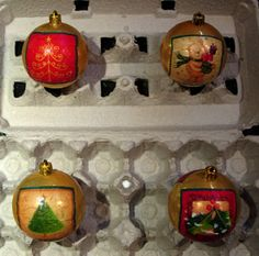 Assorted Small Decoupage Christmas Ornaments