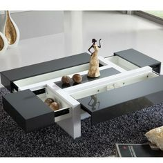 Table Basse Design Relevable Et Transformable Akila Coloris Blanc Laqu Table Basse