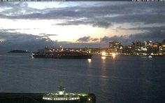 This camera at Alderney Gate in Dartmouth is showing the waterfront of Halifax: Ocean terminal, Pier 21, Boardwalk with Cable Wharf, Purdys Wharf and Casino Nova Scotia.