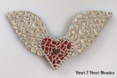 Small Red Angel Wing Heart Mosaic by Heart2HeartMosaics on Etsy, $25.00