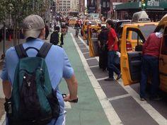 Bike lane with protective buffer, NYC. Click to tweet via StreetFilms and visit the slowottawa.ca boards >> http://www.pinterest.com/slowottawa/