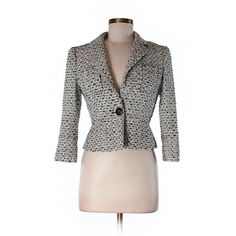 Pre-owned Bebe Silk Blazer (€40) ❤ liked on Polyvore featuring outerwear, jackets, blazers, ivory, white blazer, blazer jacket, silk jacket, bebe and ivory blazer