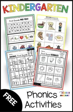 FIRST SOUNDS KINDERGARTEN worksheets - can be used for assessments - small group activities