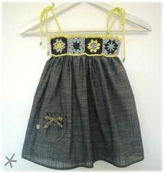 Crochet top dress inspiration ideas for 2019 Crochet Yoke, Crochet Fabric, Crochet Girls, Crochet Baby Clothes, Crochet For Kids, Sewing Clothes, Baby Girl Dress Patterns, Baby Dress, Little Girl Dresses