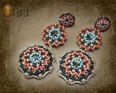 Earrings with Swarovski and Sterling Silver, Beaded by Esther Marker