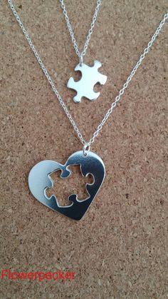 Jigsaw Puzzle Necklace Jigsaw Silver Pendant Heart by flowerpecker                                                                                                                                                                                 More