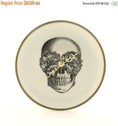 CIJ SALE Christmasinjuly Altered Sugar Skull Wall Clock Plate