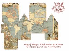 Wings of Whimsy: Map Cottage No British Empire 1886 3d Paper Crafts, Foam Crafts, Paper Toys, Paper Art, Vintage Paper Dolls, Vintage Crafts, Vintage Ephemera, Christmas Gift Box Template, Diy Christmas Village