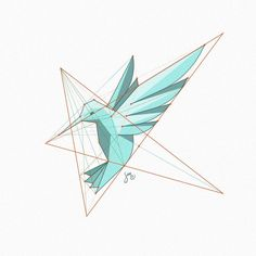 A stylized hummingbird figure, based on star shaped grid. Some very old study…