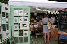 Renegade Craft Fair 2010 - like the idea of doors as a display - Charlotte's Fancy blog has lots of photos of other booths