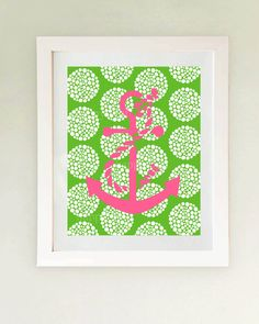 Nautical decor Preppy Pink and Green (etsy)