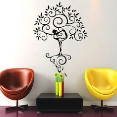 Tree Wall Decals Art Gymnast Decal Yoga Stickers Decal Gym Home Decor Interior Design Murals MN925 Meditation Room Decor, Meditation Art, Meditation Corner, Yoga Studio Design, Yoga Studio Decor, Gym Interior, Studio Interior, Tree House Decor, Home Decor