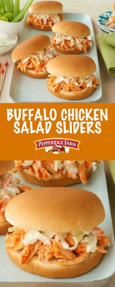 Pepperidge Farm Buffalo Chicken Salad Sliders Recipe. There is so much to love about these easy chicken salad sliders. Inspired by our favorite party-time appetizer (hot wings), these sliders are sure to be a hit.  The heat is perfectly balanced by the creamy coleslaw topping so you get a whole lot of flavor packed into a snack sized treat. Gather with friends and enjoy.