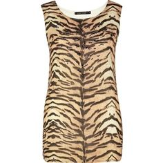 River Island Brown tiger print tank top (13 AUD) ❤ liked on Polyvore featuring tops, dresses, tank tops, sale, beige top, brown tank, tiger print top, brown tops and tiger print tank top
