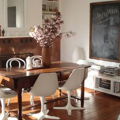 White Modern Chairs With Antique Wood Dining Table Design, Pictures, Remodel, Decor and Ideas