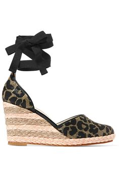 SOPHIA WEBSTER Carla Leopard-Print Jacquard Wedge Espadrilles. #sophiawebster #shoes #flats