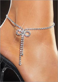 Rhinestone Anklet Bracelet with bow accent by Tatishotties on Etsy, $100