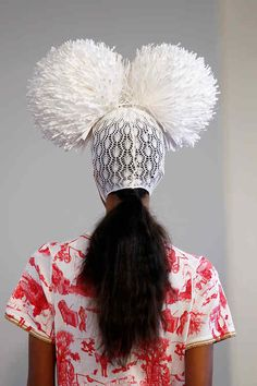 Great #LFW back view of a macramé lace ski mask complete with giant pom poms from Sister by @WEARESIBLING.