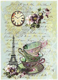Rice Paper for Decoupage, Scrapbook Sheet, Craft Paper Tea in Paris in Crafts, Cardmaking & Scrapbooking, Decoupage   eBay