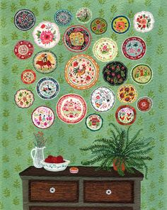 """""""Plate Collection"""" by Becca Stadtlander Illustration from Etsy. Illustration Mignonne, Cute Illustration, Illustrations Vintage, Illustrations Posters, Art Populaire, Guache, Naive Art, Oeuvre D'art, Becca"""