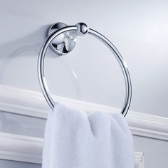 Aothpher Bathroom Chrome Towel Ring Towel Holder Rack, Copper Construction, Shiny Silver Products,Bathroom Accessories