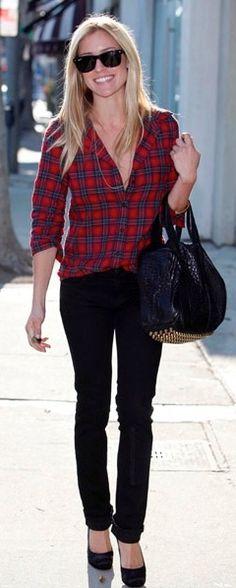 red plaid shirt & black cropped pants