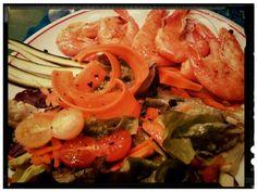 Marinated prawns and wild salad