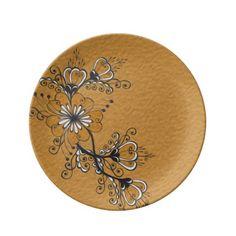 Floral Black yellow gold Drawing Folk  motif Porcelain Plates