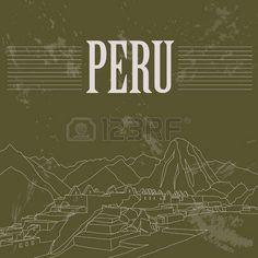 Hitos Perú. Estilo retro imagen. Ilustración vectorial