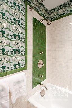 fabulous green and white tile bath - beautiful wallpaper too. Christina Murphy Interiors