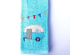 Vintage Camper Trailer Dish Towel Mint Green by CreativeJunkee