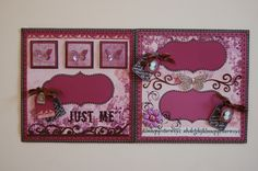 """Just Me"" double page scrapbooking layout by JAMIE PENSON  www.jamieshappyscrapping@blogspot.com"