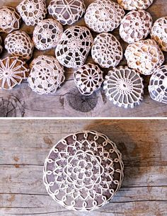 doily stones. I've done this, they really turn out nice. a small project, easy to finish. Great way to try out a new or different crochet pattern on. Makes a unique gift.